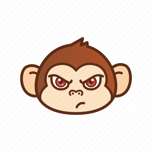 angry, emoticon, expression, monkey icon
