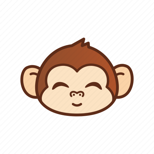 cute, emoticon, expression, funny, monkey, smile icon