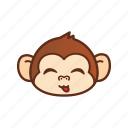 cute, emoticon, expression, funny, monkey, tongue icon