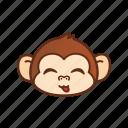 cute, emoticon, expression, funny, monkey, tongue icon