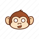 cute, emoticon, expression, funny, monkey, shocked icon