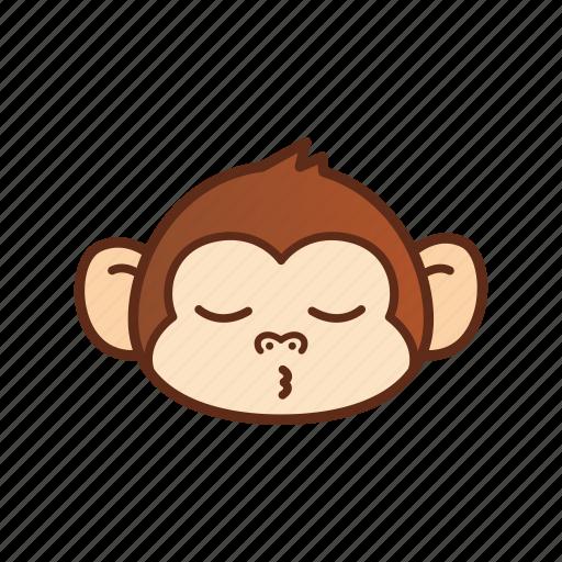 cute, emoticon, expression, funny, monkey icon