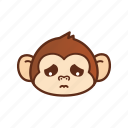 emoticon, expression, monkey, sad icon