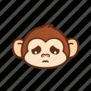 emoticon, expression, monkey, sad