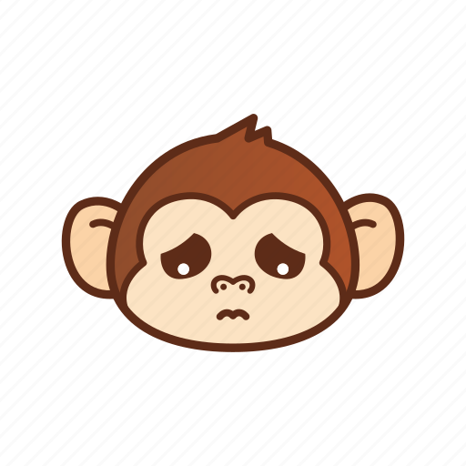 emoticon, expression, monkey, sad icon