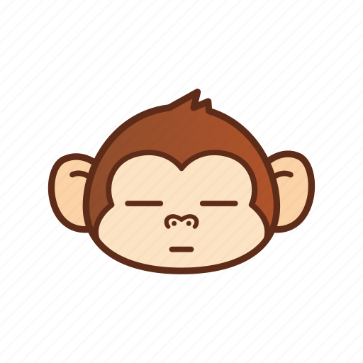 emoticon, expression, funny, monkey, no expression icon