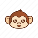 confuse, cute, emoticon, expression, funny, monkey icon