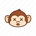 cross, cute, emoticon, expression, eye, funny, monkey icon