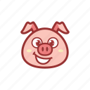 big smile, cute, emoticon, expression, laugh, piggy, smile icon