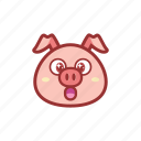 amazed, cute, emoticon, expression, piggy, shocked icon