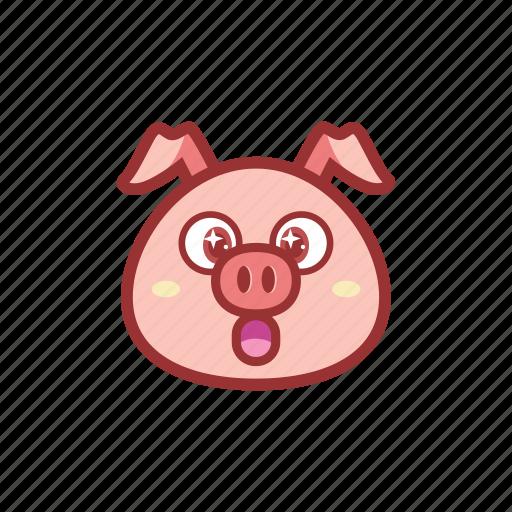 amazed, cute, emoticon, expression, piggy, shocked icon