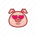 cute, emoticon, expression, fall in love, love, piggy icon