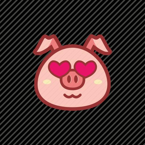 cute, emoticon, expression, fall in love, love, piggy icon