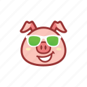 cool, cute, emoticon, expression, glasses, green, piggy icon