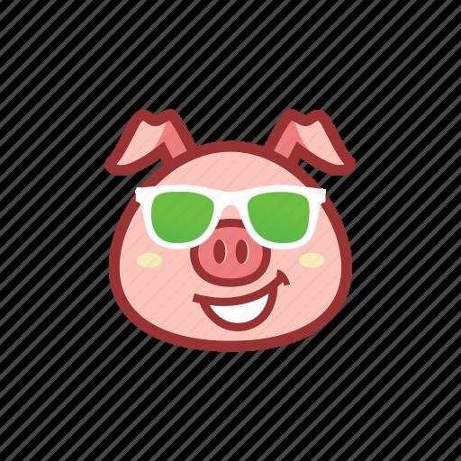 cool, cute, emoticon, expression, glasses, green, piggy icon