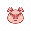 angry, cute, emoticon, expression, mad, piggy icon