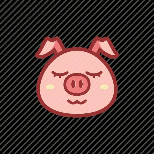 cute, emoticon, expression, piggy, sleep, sleepy icon