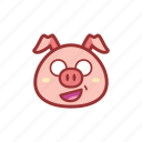 cute, emoticon, expression, piggy, shocked icon