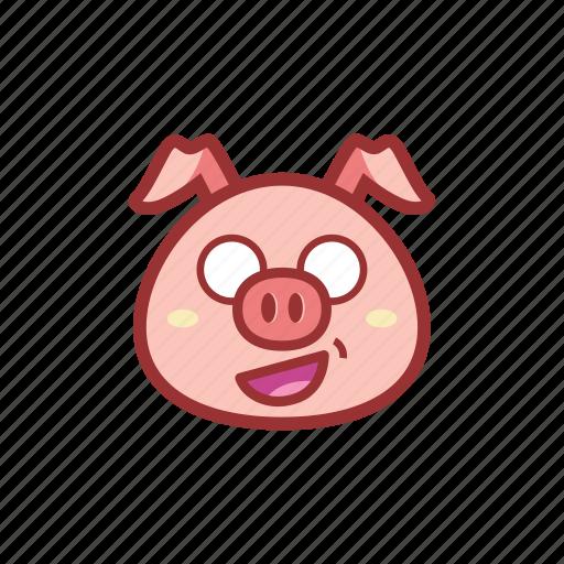 cute, emoticon, expression, piggy, shocked icon