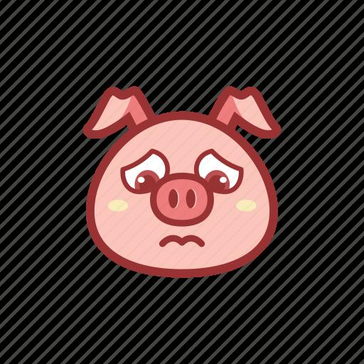 cute, emoticon, expression, piggy, sad icon
