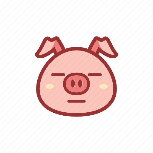 cute, emoticon, expression, flat face, piggy icon