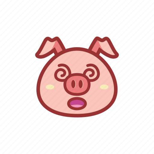 confuse, cute, emoticon, expression, piggy icon