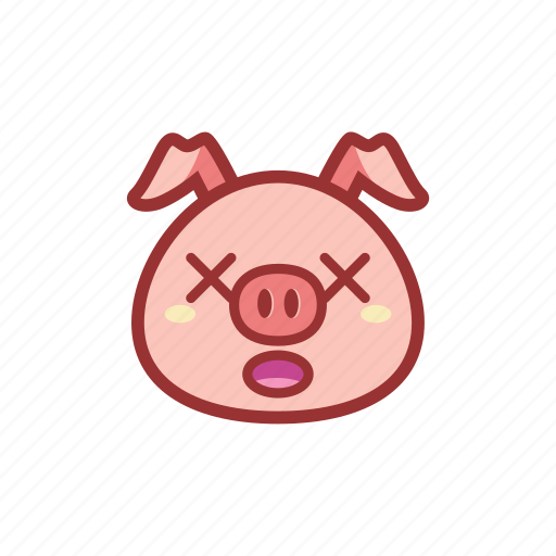 cross eyes, cute, emoticon, expression, piggy icon