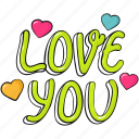 cool, cute, heart, lettering, love, valentine, valentine's icon
