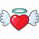 angel, cute, heart, line, love, set, template icon