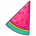 cool, cute, line, set, template, watermelon icon