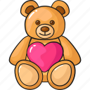 cute, doll, line, love, set, teddy bear, template icon