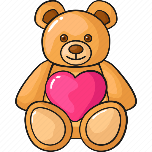 cute doll line love set teddy bear template icon