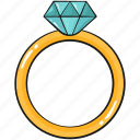 cool, cute, diamond, line, ring, set, template icon