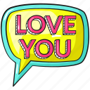 ballon, cool, cute, lettering, line, love, love you icon