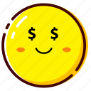 cute, emoji, emoticon, expression, money icon