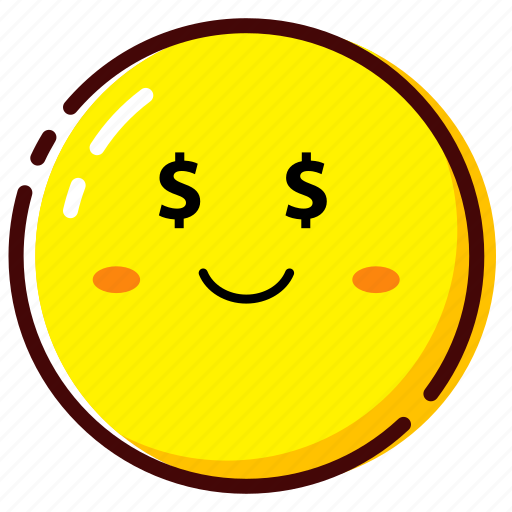 cute, emoji, emoticon, expression, money icon