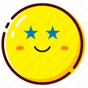 cute, emoji, emoticon, expression, star icon