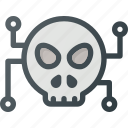 crime, cyber, hacked, hacker, malware, terminating, warming icon