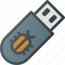 crime, cyber, drive, flash, hacked, virused, warming icon