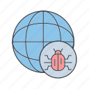 cyber crime, hacker, virus, world bug icon