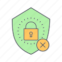 cyber crime, hacker, protection lock, virus icon