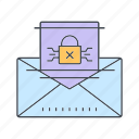 cyber crime, hacker, malware mail, virus icon