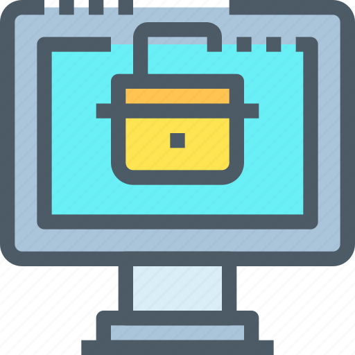 computer, crime, hack, padlock, secure, security icon