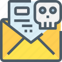 crime, email, hack, letter, mail, message, skull