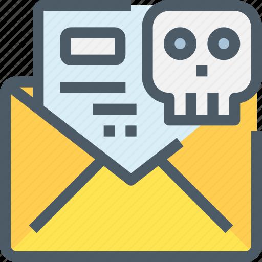 Crime, email, hack, letter, mail, message, skull icon - Download on Iconfinder