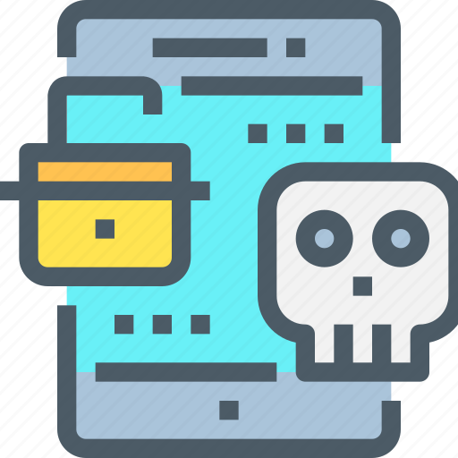 Crime, hack, mobile, padlock, secure, security, skull icon - Download on Iconfinder