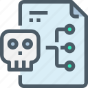 crime, data, document, file, hack, network, skull