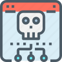 browser, connect, crime, hack, network, skull, website icon