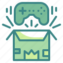 controller, open, product, box, gifting, game, present icon