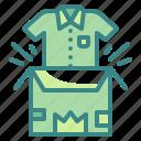 garment, clothing, unboxing, product, box, gifting, shirt icon